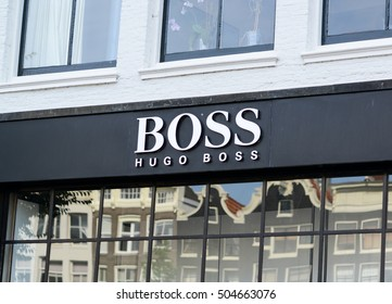 AMSTERDAM - AUGUST 23, 2015 : Facade of the hugo boss store in Amsterdam