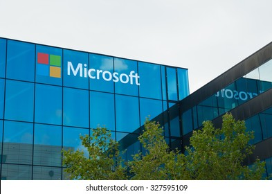 AMSTERDAM - AUGUST 28, 2015:  Microsoft logo on office building at amsterdam schiphol airport
