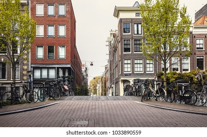 Amsterdam. Autumn streets with traditional houses. Urban landscape with bicycles and yellow tree. Netherlands.