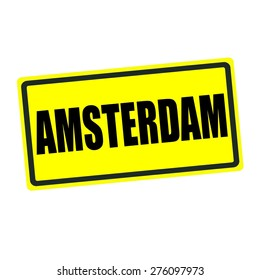 Amsterdam back stamp text on yellow background