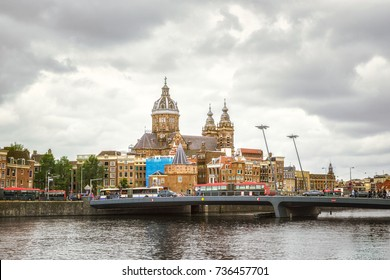 Amsterdam canal and Basilica of St. Nicholas