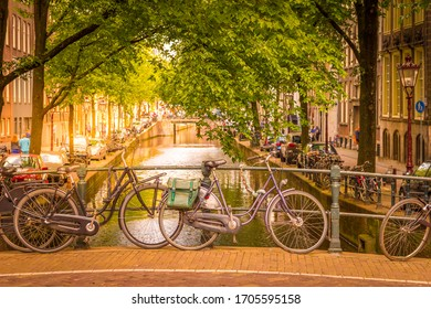 Amsterdam canal and bikes, The Netherlands