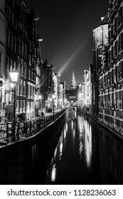 Amsterdam canal by night