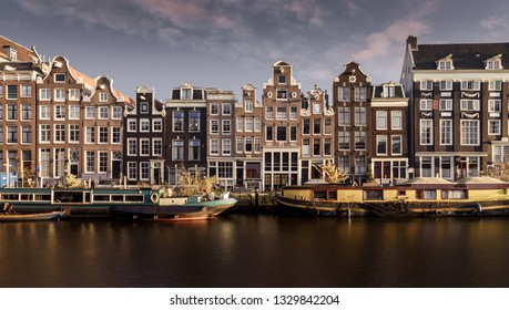 Amsterdam Canal View with Beautiful Dutch Houses and Houseboats, Day, Summertime