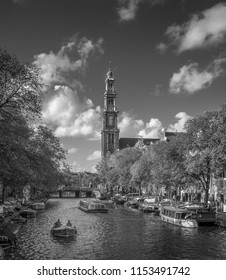 Amsterdam Canals Black and White. The Westerkerk in Prinsengracht. A summer scene.