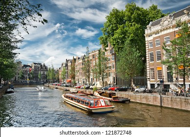 Amsterdam canals and typical houses