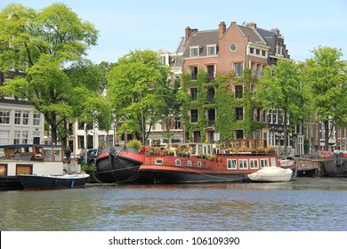 Amsterdam canals and typical houses , Netherlands ( Holland )
