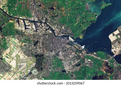 Amsterdam, the capital of the Netherlands, seen from space - Modified elements of this image furnished by ESA