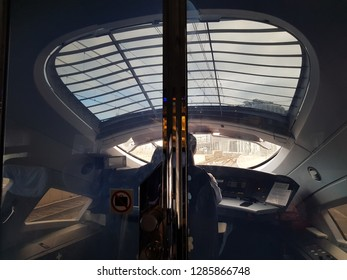 AMSTERDAM CENTRAAL, NETHERLANDS - 03 January 2019 View of interior of the highspeed ICE train cockpit and a driver