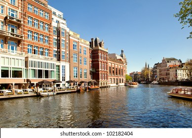 Amsterdam channel in a sunny day, Netherlands