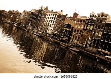 Amsterdam city Nederland Europe Famous Dutch channels and great city scape Traveling concept background