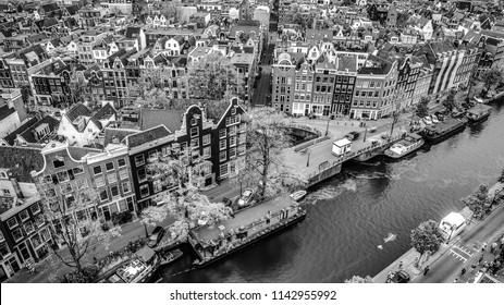 Amsterdam city from the top. Black-white photo.