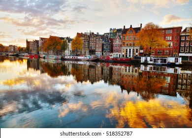 Amsterdam city view with Amstel river at surise
