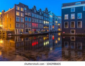 Amsterdam cityscape blue hour
