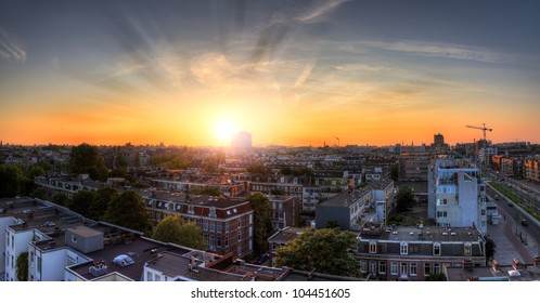 Amsterdam cityscape sunset HDR