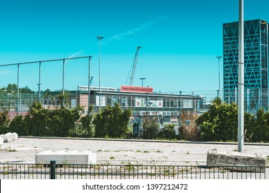 Amsterdam, Claude Debussylaan, the Netherlands, 05/13/2019, AFC Amsterdamse football club, Modern office buildings in Amsterdam, zuidas, zuid