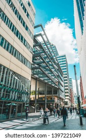 Amsterdam, Claude Debussylaan, the Netherlands, 05/13/2019, Street in the Amsterdam Zuidas (South axis) business district