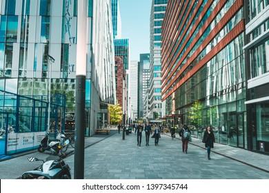 Amsterdam, Claude Debussylaan, the Netherlands, 05/13/2019, Modern office buildings in Amsterdam, zuidas, city skyline, business district