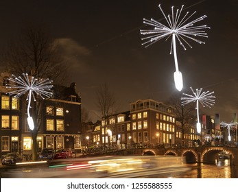 Amsterdam, December 01 2018: Light Festival Artwork Light a Wish