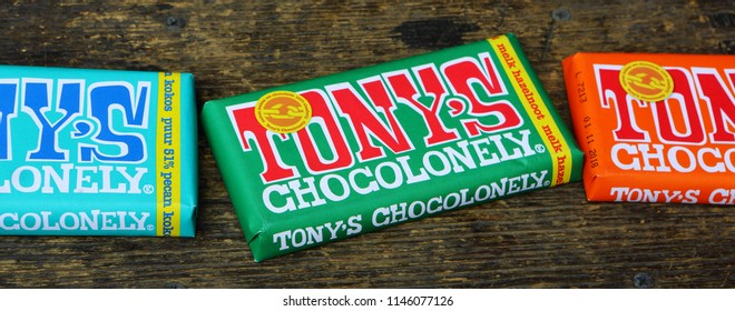 AMSTERDAM, DUTCH - 15OCT 2016.: Tonys Chocolonely milk chocolate. Fair trade chocolate made by Tonys Chocolonely chocolate factory in Amsterdam, Netherlands. Tony's.