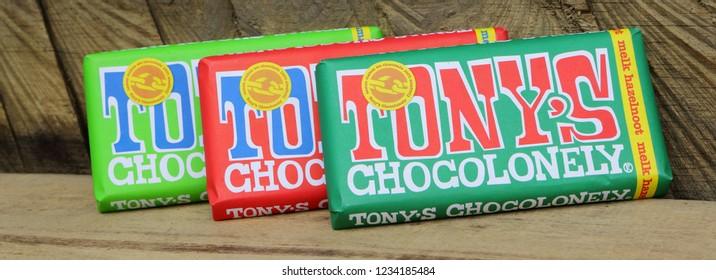 AMSTERDAM, DUTCH - 15OCT 2016.: Tonys Chocolonely milk chocolate. Fair trade chocolate made by Tonys Chocolonely chocolate factory in Amsterdam, Netherlands.