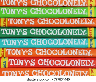 AMSTERDAM, DUTCH - 15OCT 2016.: Tonys Chocolonely milk chocolate with sea salt and caramel. Fair trade chocolate made by Tonys Chocolonely chocolate factory in Amsterdam, Netherlands.