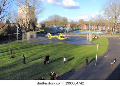 AMSTERDAM, FEB 3, 2019: Emergency ambulance helicopter has landed on a small soccer field for an emergency call, in Osdorp, Amsterdam