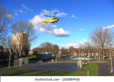 AMSTERDAM, FEB 3, 2019: Emergency ambulance helicopter has taken of from small football field in residential area in Osdorp, Amsterdam