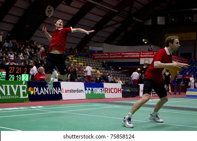 AMSTERDAM - FEBRUARY 20: Mathias Boe and Carsten Mogensen beat the Germans in the finals of the European Team Championships badminton in Amsterdam, The Netherlands on February 20, 2011.