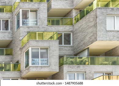 Amsterdam, George Gershwinlaan, The Netherlands, 08/23/2019, Luxury apartments Modern living at Amsterdam south, zuidas, business district, glass yellow balcony edges