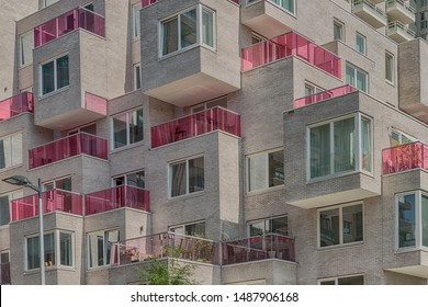 Amsterdam, George Gershwinlaan, The Netherlands, 08/23/2019, Luxury apartments Modern living at Amsterdam south, zuidas, business district, glass pink balcony edges