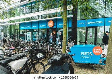 Amsterdam, Gustav Mahlerlaan, The Netherlands, 05/03/2019. Coolblue XXL Consumer electronic store, Zuidas Amsterdam, Bakfiets
