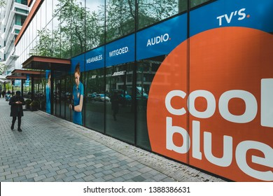Amsterdam, Gustav Mahlerlaan, The Netherlands, 05/03/2019. Coolblue XXL Consumer electronic store, Zuidas Amsterdam, Bakfiets