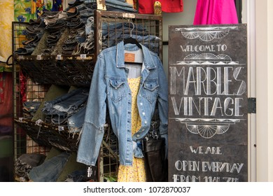 Amsterdam, Holland - 14 April 2018 Vintage clothing in a store in Amsterdam