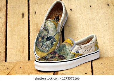 AMSTERDAM, HOLLAND - 27 AUGUST 2018: A pair of Vans x Van Gogh Collection sneakers. Vans & the Van Gogh Museum partnered to produce a limited edition collection using Van Gogh masterpieces. Editorial.