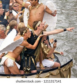 Amsterdam / Holland - Aug. 1, 2009: Roman scene on a boat during the annual canal parade at Gay Pride in Amsterdam. On Aug. 1, 2009 in Amsterdam, The Netherlands.