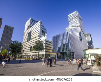 Amsterdam, Holland, August 16, 2012: The main financial, economic and judicial center in Amsterdam, commonly known as the 'Zuidas' on a sunny day.