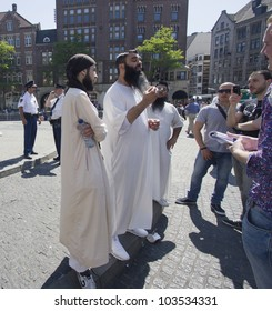 AMSTERDAM, HOLLAND - MAY 25: British Muslim fundamentalist Sayful Islam talks to the press on his visit with Anjem Choudary to Amsterdam, Holland on May 25, 2012