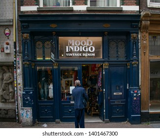 Amsterdam, Holland, The Netherlands - 6th May 2019: Mood Indigo Vintage Denim. Store front in Amsterdam down the vintage shopping street.