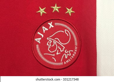 AMSTERDAM, HOLLAND - OCTOBER 20:  the logo of Ajax Amsterdam on an official jersey on October 20,2015 in Amsterdam Holland.