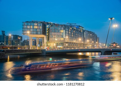 Amsterdam, JUL 22: Exterior view of the Double Tree by Hilton Hotel on JUL 22, 2017 at Amsterdam, Netherlands