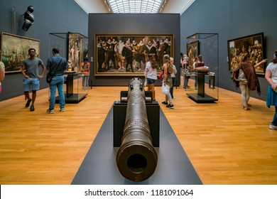 Amsterdam, JUL 22: Interior view of the Rijksmuseum museum on JUL 22, 2017 at Amsterdam, Netherlands