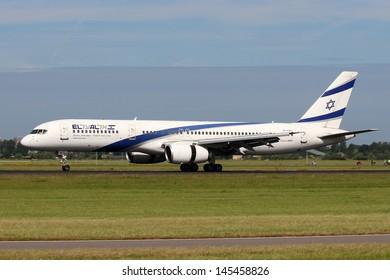 AMSTERDAM - JULY 02: El Al Israel Airlines Boeing 757-258 lands at AMS Airport in Netherlands on July 02, 2012.El Al is the flag carrier of Israel.