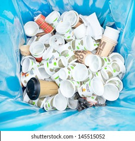 AMSTERDAM - JUNE 29: Different kinds waste gathered separately in waste containers for recycling on the Damn Food Waste day, food waste prevention initiative, June 29, 2013, Amsterdam, The Netherlands