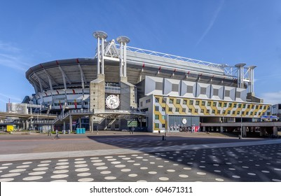 Amsterdam, March 2017. Outside view of the Amsterdam Arena soccer stadium, home of the Ajax team