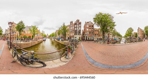 Amsterdam Nederland - 23 July 2017: Amsterdam red light street Full 360 VR view