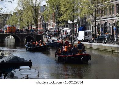 Amsterdam, Netherland 04.27.2016 The king's day celebration in Amsterdam