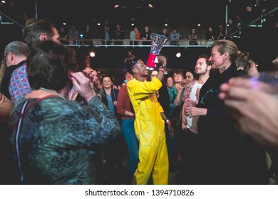 Amsterdam, The Netherland - 06 March 2019: singer of Congolese band KOKOKO! in the middle of the audience at Paradiso Noord Tolhuistuin in Amsterdam