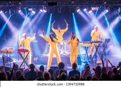 Amsterdam, The Netherland - 06 March 2019: concert of Congolese band KOKOKO! at Paradiso Noord Tolhuistuin in Amsterdam