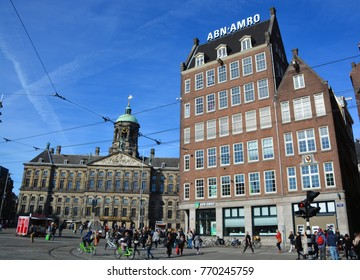 AMSTERDAM NETHERLAND 10 03 15: Building of ABN AMRO Bank N.V. is a Dutch bank with headquarters in Amsterdam. ABN AMRO Bank is the third-largest bank in the Netherlands.